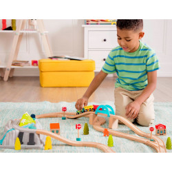 B. Wood and Wheels - Conjunto circuito tren de madera - B. Toys
